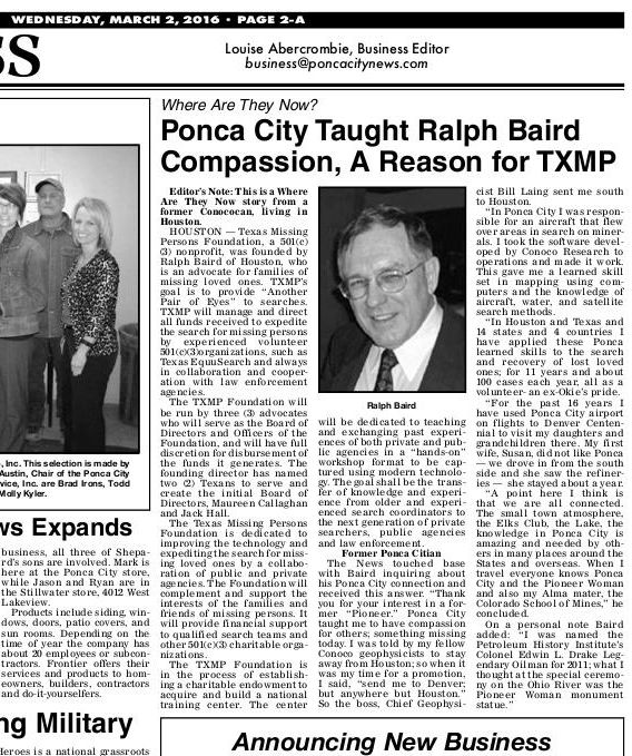 Ponca City News Ralph Baird TXMP Foundation